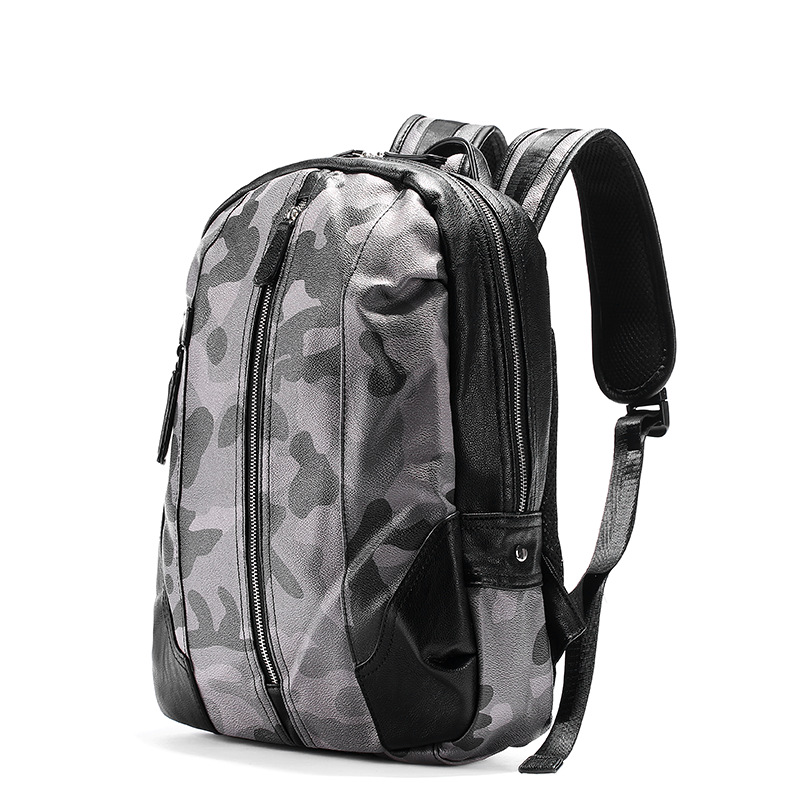 2018 New Brand Preppy Style PU Leather School Backpack Bag For College Simple Design Black Camouflage Men Casual Daypacks male preppy style leather school backpack bag for college simple design men casual daypacks mochila unisex laptop backpack vintage