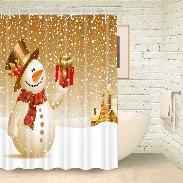 FOOG Glod Snowman Shower Curtains Snowflake Polka Dots Curtain White Bathroom Sets 70Wx78L