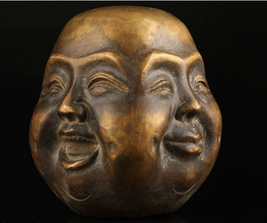 FREE SHIPPING Old Collectable Bronze Casting Joys Sorrows Spiritual Four face Buddha Statue Head bronze H 70MM(China)