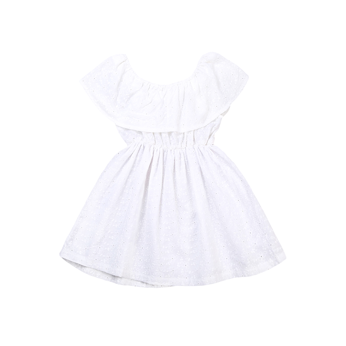 2017 Summer Children Girls White Lace Dress Off Shoulder Ruffled Collar Princess Girl Party Dresses One Pieces Sundress Clothes knife