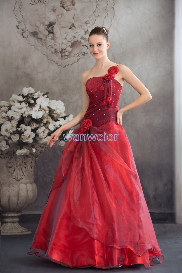free shipping for wedding 2016 new style hot bridal handmade one shoulder custom size ball gown organza red big wedding dresses in Wedding Dresses from Weddings Events