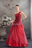 free shipping for wedding 2016 new style hot bridal handmade one shoulder custom size ball gown organza red big wedding dresses