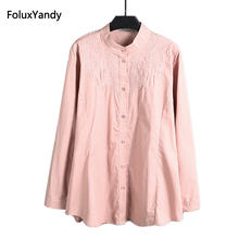 Stand Collar Blouse Shirt Women Brand New Plus Size 3 4 5 6 XL Casual Female Embroidery Long Sleeve Shirts KK2470