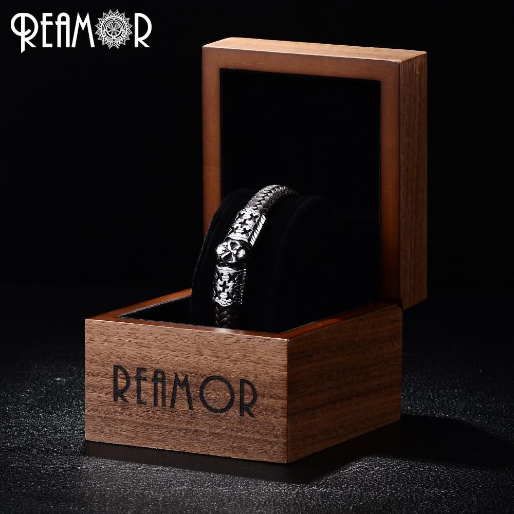 REAMOR Trendy 12mm Width Braided Leather Stainless Steel Skeleton Male Bracelets Cracked Skull Head Charms Bracelets Bangle Men