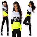 2016 sportswear moda outono das mulheres e de lazer longo-sleeved revestimento senhora terno dois conjuntos