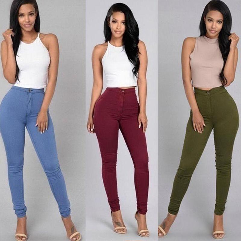18 Solid Wash Skinny Jeans Woman High Waist winter Denim Pants Plus Size Push Up Trousers Bodycon warm Pencil Pants Female 5