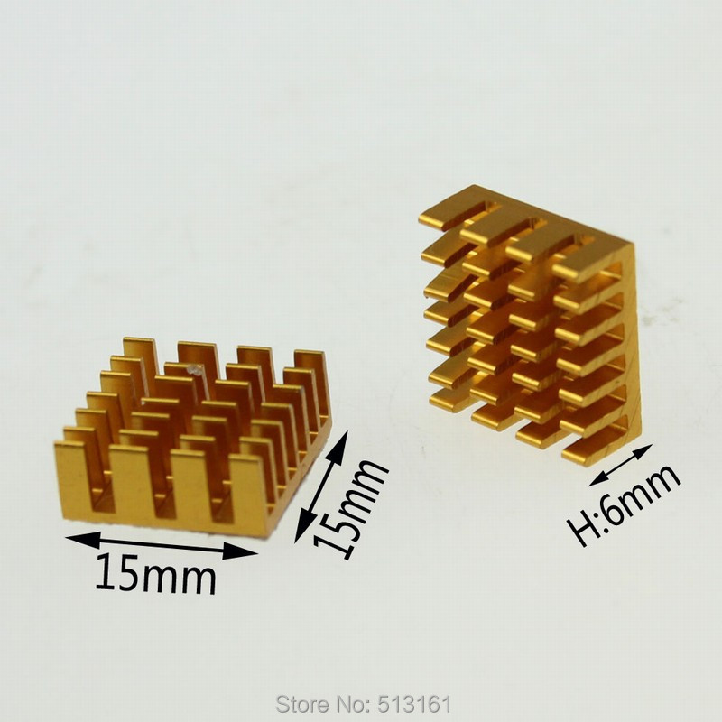 50 Pieces lot 14x14x6mm Aluminum Radiator For CPU VGA Card Golden Heatsink in Fans Cooling from Computer Office