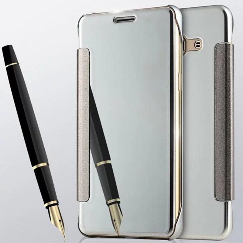 Luxury J5 Gold Plating Mirror Leather Flip Case For Samsung Galaxy J5 J500F J500Y J7 J700 J700H 2015 Version Phone Back Cover