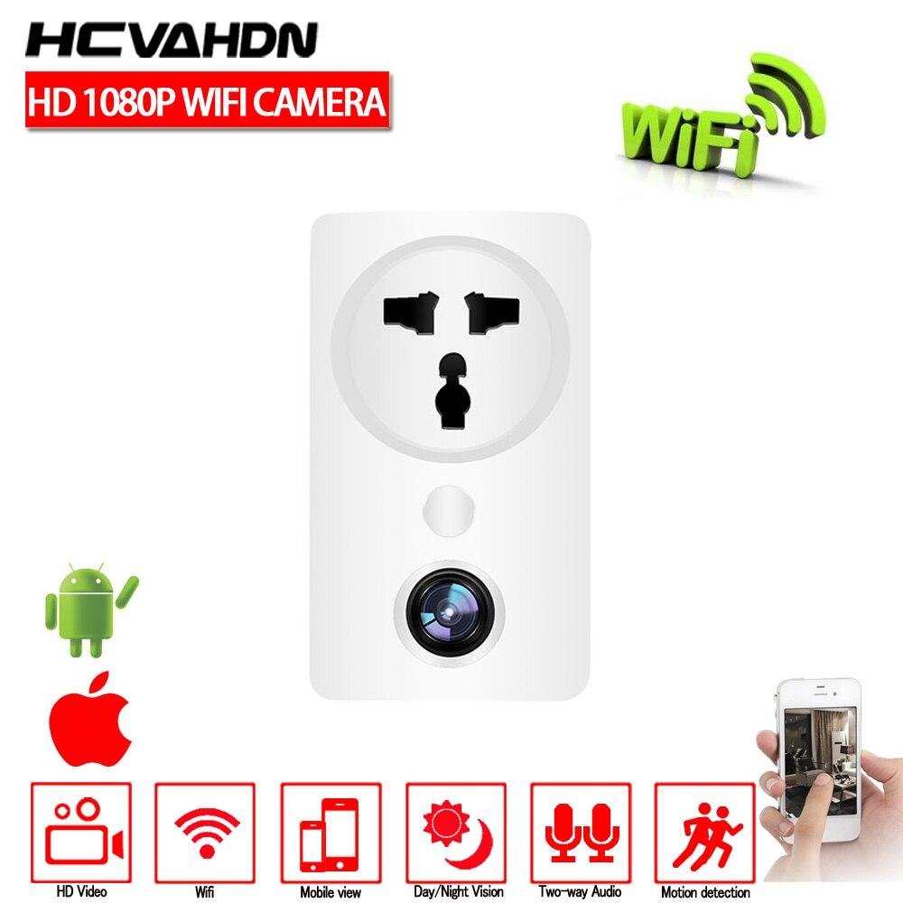 HCVAHDN Wfi caméra 1080P 180 degrés panoramique maison sécurité prise adaptateur secteur caméra sans fil CCTV Surveillance bébé moniteur