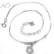 Цветком xd цепочка расширенный изящных цепь бисера стерлингового серебра ног браслеты