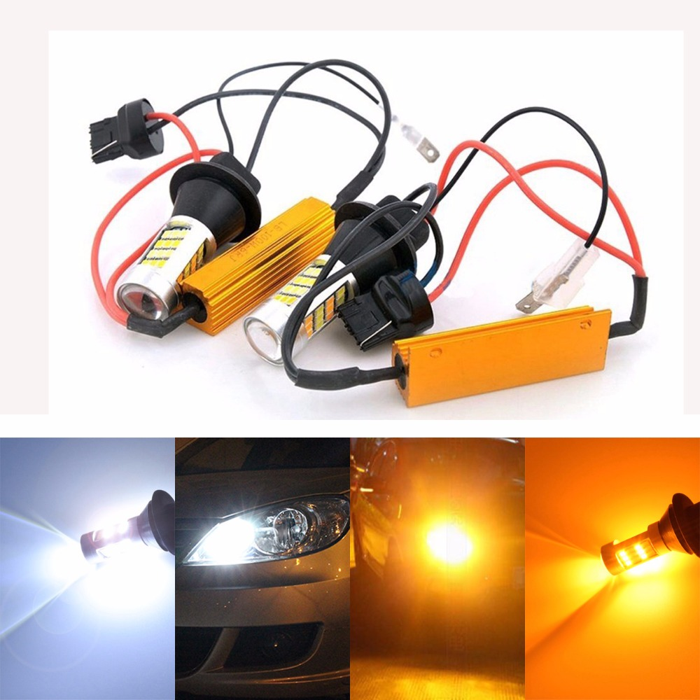 T20 7440 20W LED Turn Signal Light Canbus Error Free Decoder Load Resistor W21W Dual Color White/Amber Switchback Turn Signal