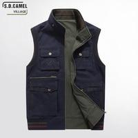 S.D.CAMEL4XL 5XL Plus Size Spring Autumn Cotton Vest Double Side Wear Big Pocket Sleeveless Jacket Coat Men Casual Waistcoat Top