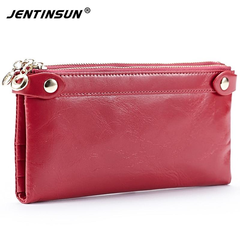 Women Genuine Leather Wallet Female Purse Double Zipper Large Phone Coins Card Holder Female Money Bag Carteira Bolsa Feminina серьги кольца эстет золотые серьги estт1с71143935