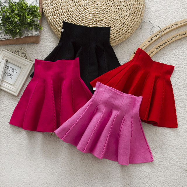 New 2016 Spring Autumn Solid Children Knitted Skirt Cute Flower