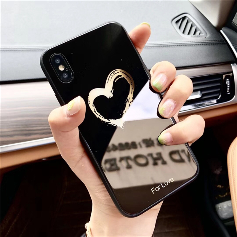 BONVAN Tempered Glass Case For iPhone X Lovely Heart Hard Back Cover Soft Silicone Bumper For iPhone 7 6S 8 Plus 6 Plus Cases06