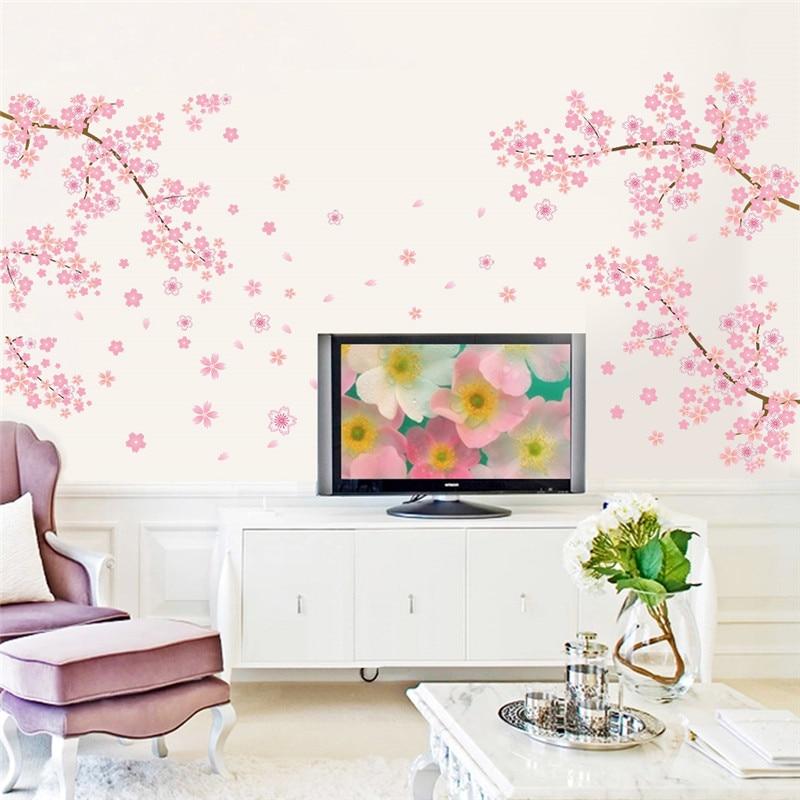 €3.26 5% de réduction Bricolage romantique rose prune fleur arbre mur  autocollant salon chambre mur sticker TV canapé fond décor maison Mural  papier ...