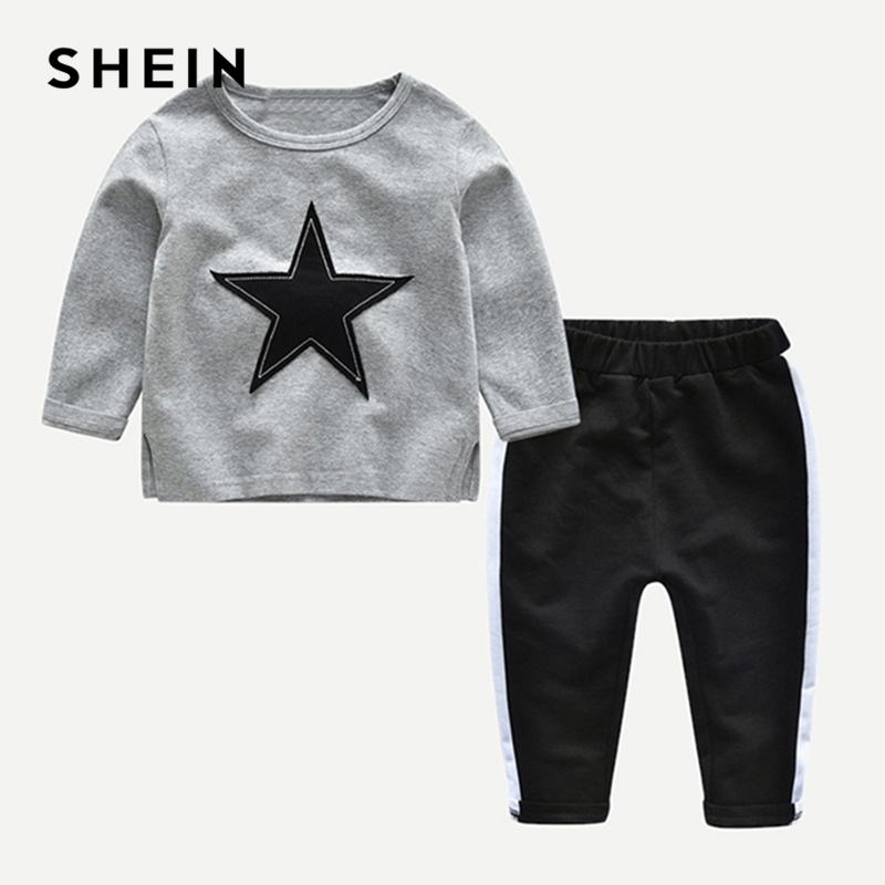 SHEIN Kiddie Star Patch Marled Tee With Elastic Waist Pants Kids Two Piece Sets 2019 Spring Long Sleeve Casual Clothes Boys Sets hollow out two piece dress