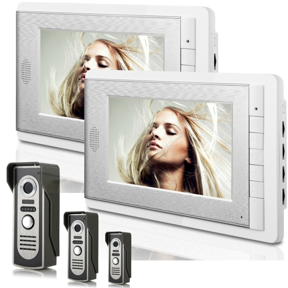 7 Inch Video Doorbell Two Monitor&Three Camera Wired  Intercom  Video Door phone
