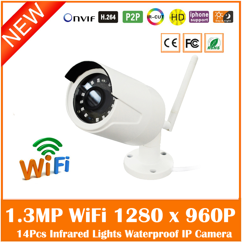 Hd 960p Wifi Wireless Bullet Ip Camera 14pcs Infrared Lights Home Security Video Surveillance Onvif Cmos Freeshipping Webcam 2014 new arrival hot sale freeshipping yes infrared cctv security onvif demo ip camera wireless wifi 960p hd mini p2p home