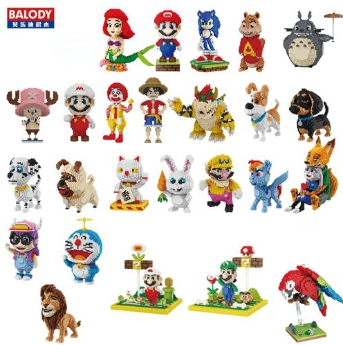 Balody Mini Blocks Stitch Cartoon Auction Figures Sonic Anime Building Bricks Naruto Boy Toys For Children Christmas Gift Totoro