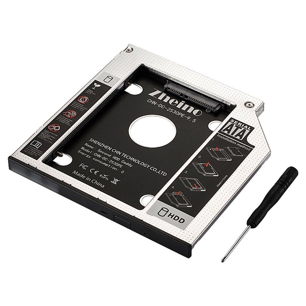 Zheino SATA Caddy Aluminum 9.5mm 12.7mm 9.0mm 2nd HDD/SSD Adapter Fit 2.5