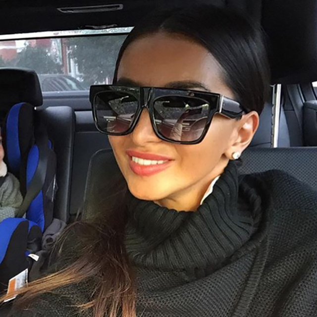 Califit черный заклепки Flat Top Рамки Солнцезащитные очки для женщин Для мужчин градиентные линзы оттенки площади Солнцезащитные очки для женщин мужской UV400 Óculos высокое качество