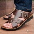 Sandalias sandalias femeninas sandalias de punta abierta envío libre de los hombres para los hombres zapatillas de piel de vaca cuero genuino informal al aire libre