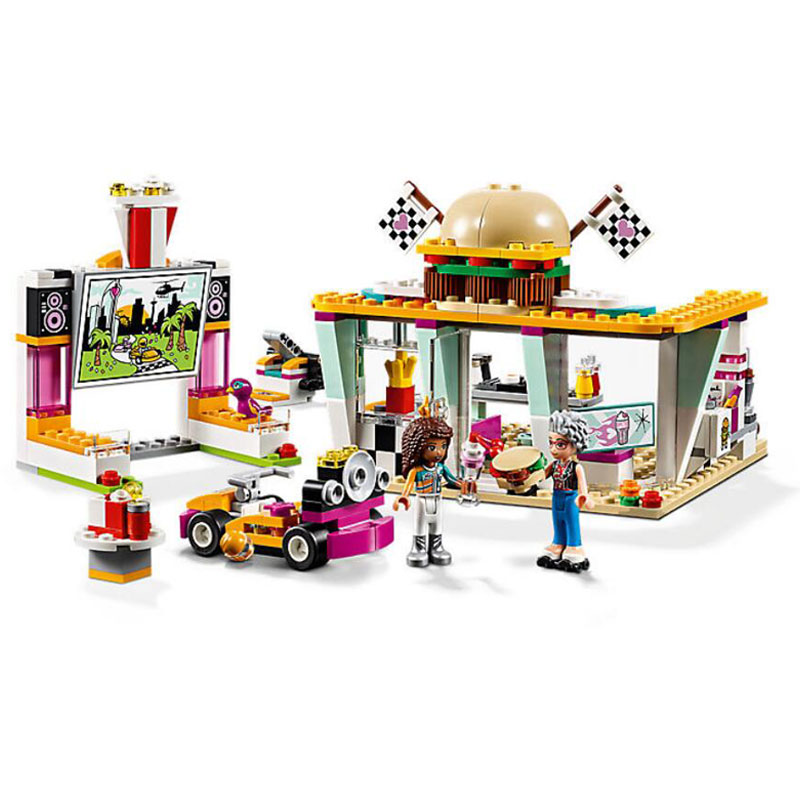 Girl Friends Heartlake City Drifting Diner Model Building Block Bricks Toys Compatible With Legoings Friends 41349