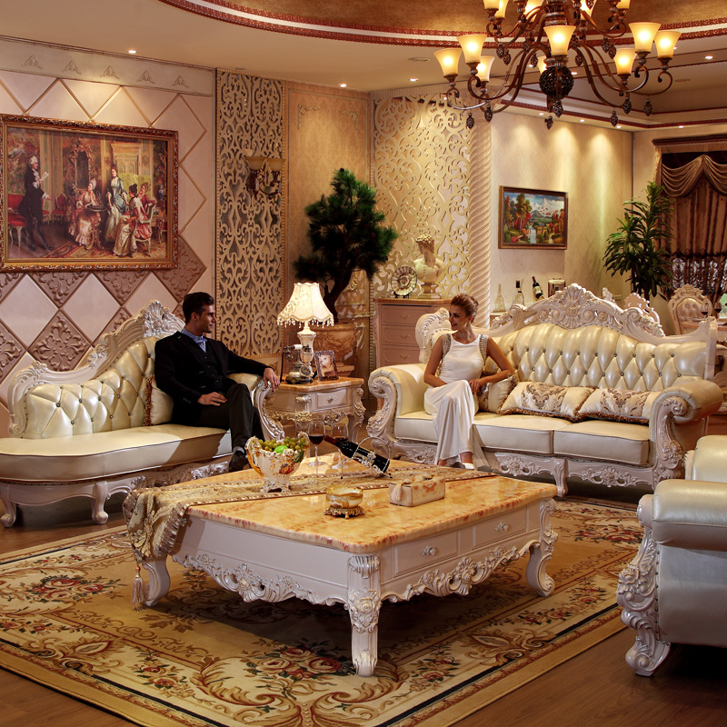 Luxury Leather Sofa Set For Living Room Furniture Muebles