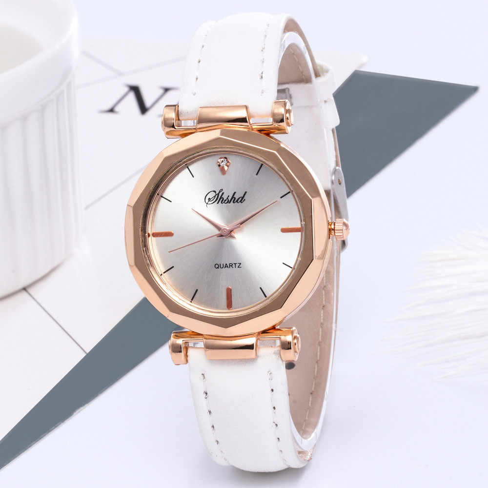 Hot Festival Gift Fashion Women Leather Casual Watch Luxury Analog Quartz Crystal Wristwatch Reloj de dama free shipping W