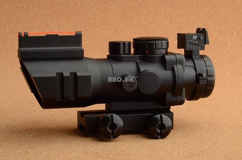 Portée optique tactique de fusil du prisme 4x32 ACOG avec la vue avant arrière vue de fibre optique avec la base de rail de picatinny de 20mm M9392