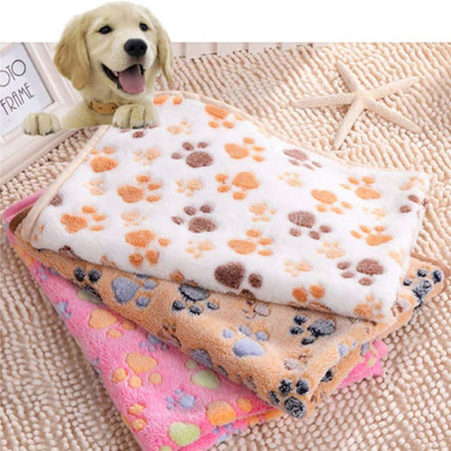 Pets Mat Soft Warm Fleece Paw Print Design Pet Puppy Dog Cat Mat Blanket Bed Sofa Pet Warm Product Cushion Cover Towel 2