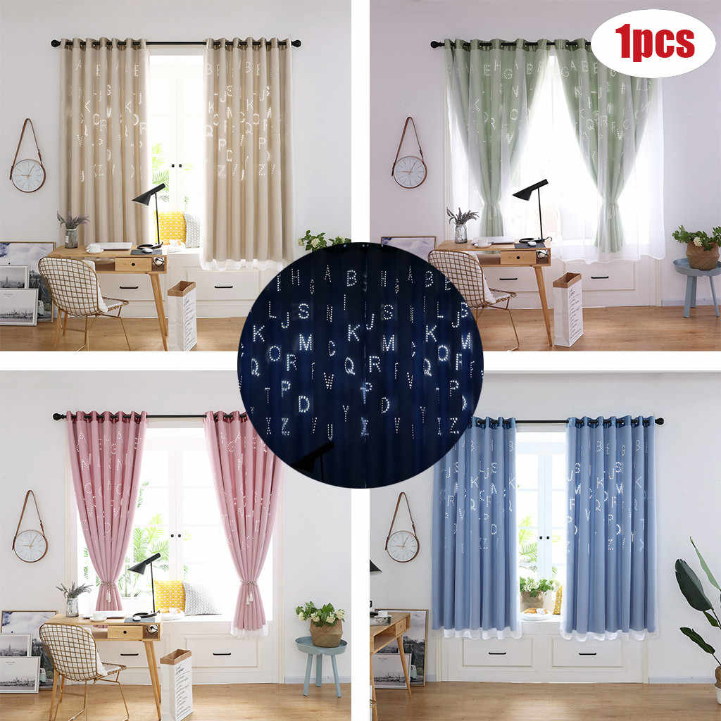 1PCS Letter curtains Tulle Door Window Curtain Drape Panel Sheer Scarf Valances curtains for living room