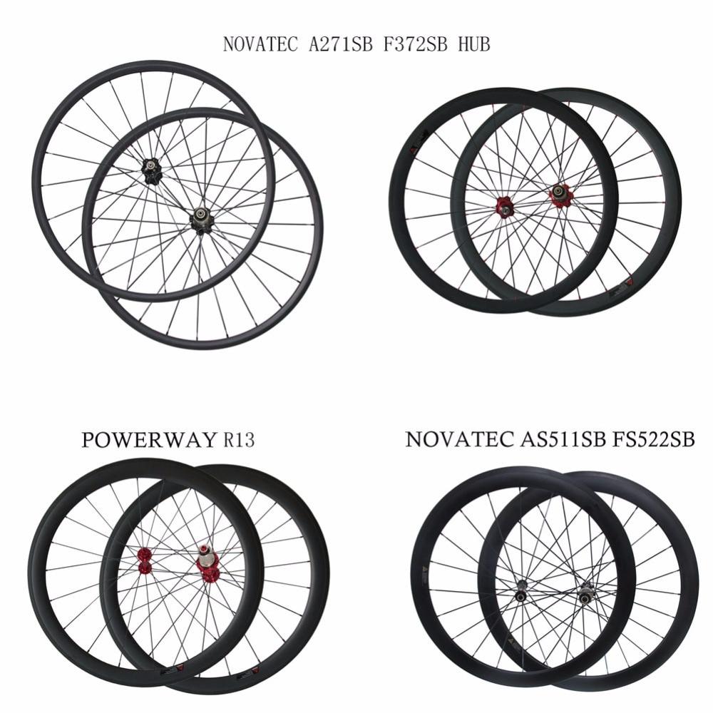 700C 25mm wide Powerway R13 carbon bike wheelset 24/38/50/60/88mm depth clincher tubular road wheels novatec AS511SB FS522SB hub �������� 215 60 r13