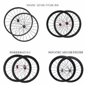 700C U 25mm wide Powerway R13 carbon bike wheelset 38/50/60/88mm depth clincher tubular road wheels novatec AS511SB FS522SB hub(China)