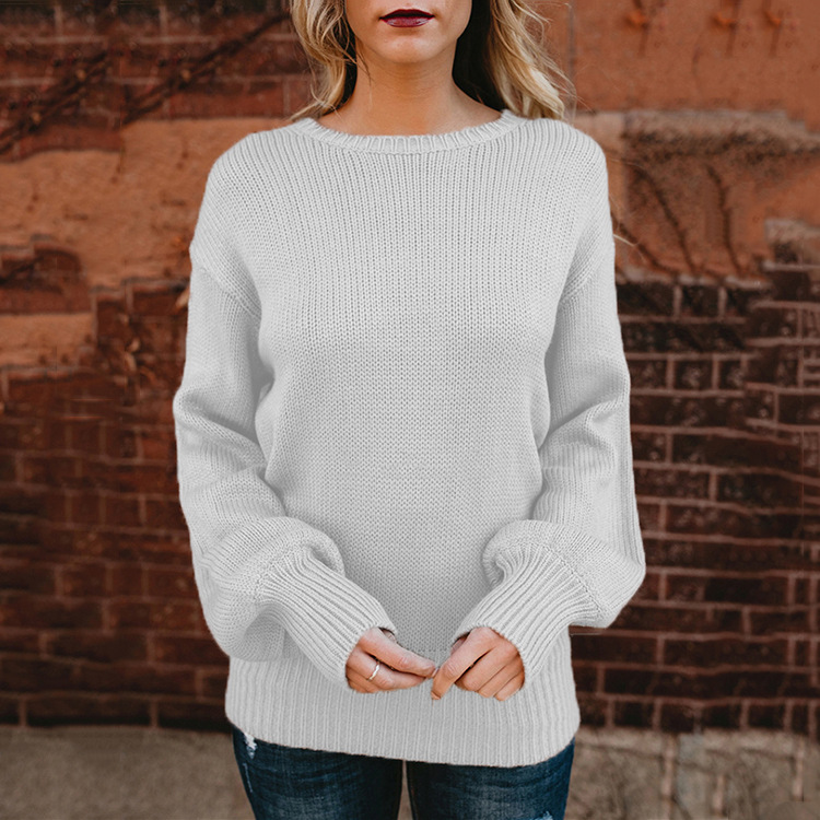 Sweet Backless Bowknot Lantern Long Sleeve Pullover Sweater 1