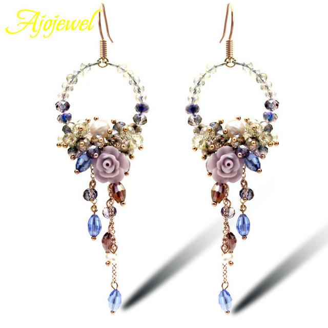 Ajojewel bridal jóias de luxo artesanal de cristal doce flor brincos chandelier brincos longos de festa para as mulheres