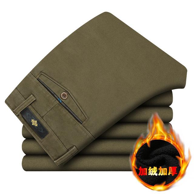 Moda de Los Hombres pantalones casuales hombres rectos de los pantalones gruesos de invierno sólido de alta calidad suave lana caliente pantalones sueltos pantalon homme