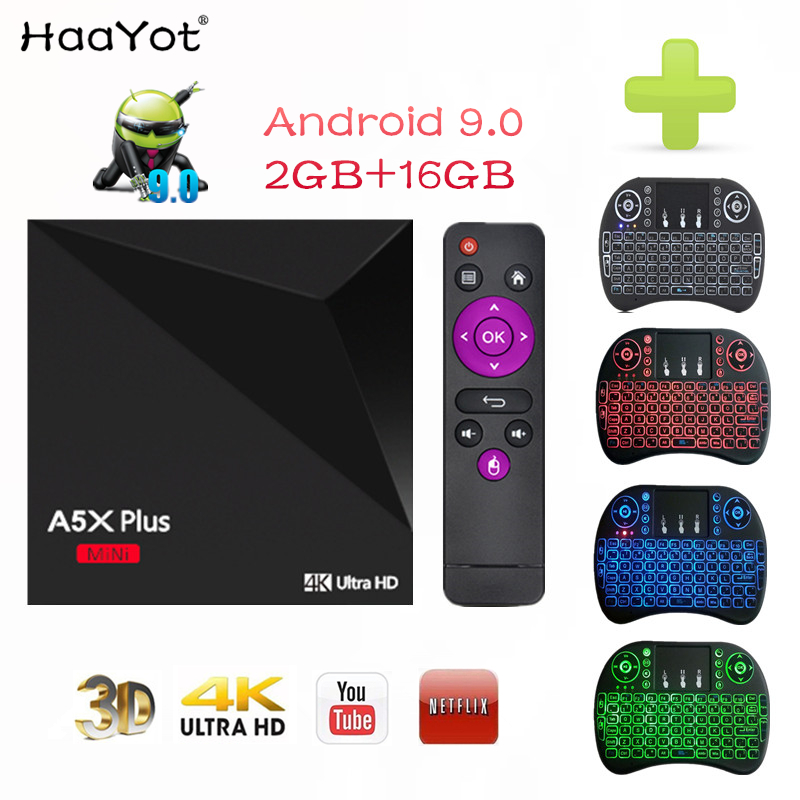 HAAYOT A5X Plus Smart Android 9.0 TV Box RK3328 Quad-core 4K HDR10 USB3.0 2GB 16GB 4K lecteur multimédia Smart mini TV Box Wifi Tvbox