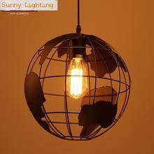 World map Globe bola Bar Art de Luz lampe colgante luces Nordic E27 moderno Colgante lámparas venta caliente Cocina Comedor lámpara mapa