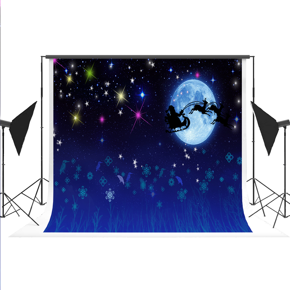 Pastel Christmas Backdrop Photography Santa Claus Photo-backdrop Cotton Portrait Night Sky Background for Photo Shoot Kate 7x5ft kate christmas village background cartoon photography backdrop moon backgrounds blue winter background for children shoot