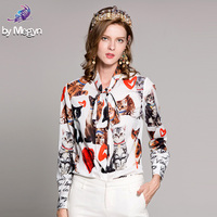 High Quality New Newest Fashion Spring Runway Designer Blouse Women's Bow Collar Cat Letter White Printed Casual Tops Shirts