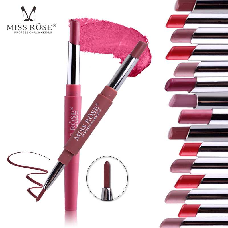 MISS ROSE Double-end Sexy Functional <font><b>Lips</b></font> Pencil <font><b>Lip</b></font> Liner <font><b>Set</b></font> <font><b>Lipstick</b></font> Pen Waterproof Long Lasting Pigment <font><b>Makeup</b></font> Cosmetics image