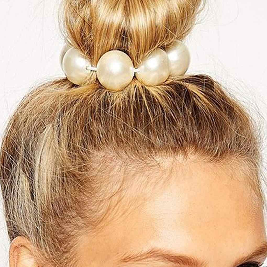 Mujeres chicas alto elástico grande falso imitación perla pelo Cola de Caballo anillos banda cabeza envoltura