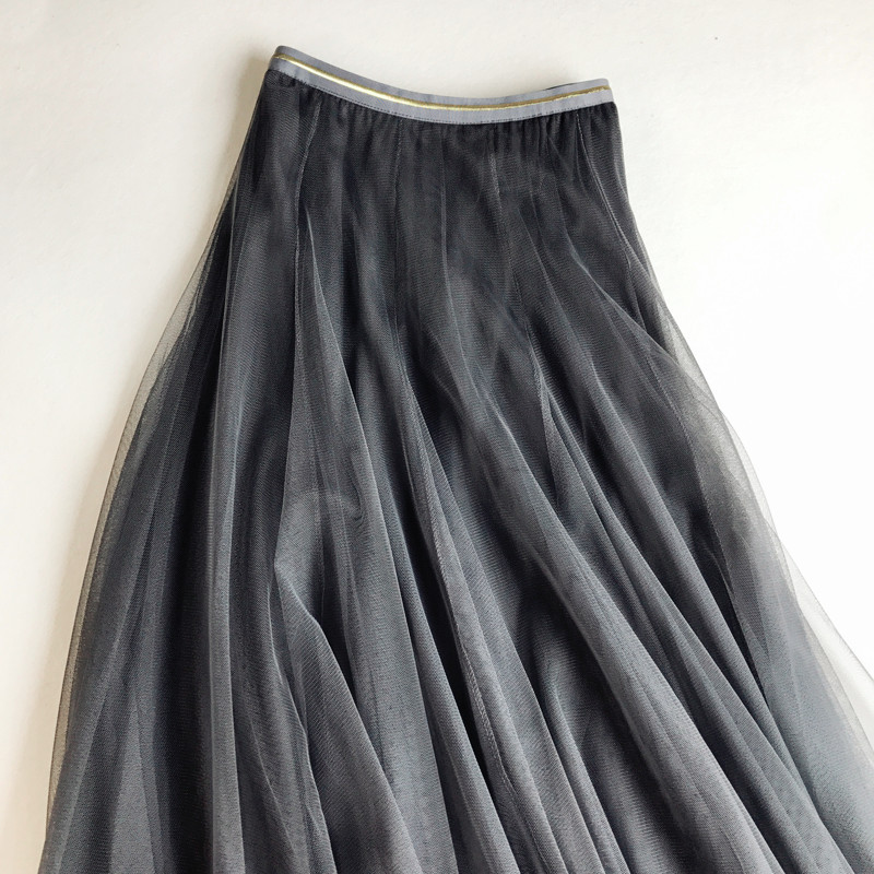 Ball Gown 2018 New Spring Elastic Waist Long Slim Mesh Skirt High Waist Solid Pleated Tutu Skirts For Women Saias Faldas