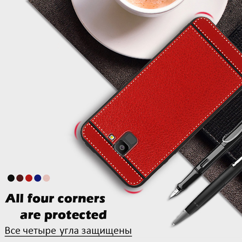 KSAM1105_6_JONSONW Phone Case For Samsung A7 2018 A6 A8 Plus Leather Skin Soft TPU Silicone Case For J4 J6+ J8 2018 Premium Leather Back Cover Case