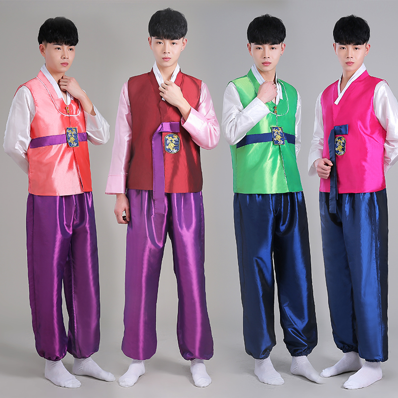 2016 New Korean Men's Traditional Korea Male Hanbok Palace Costume Ethnic Dance Performing Clothing