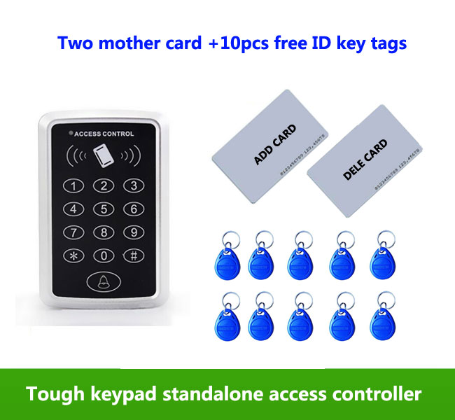 proximity RFID 125Khz ID card Standalone +Touch keypad Single door access controller ,2pcs mother card, 10pcs ID tags,min:1pcs good quality smart rfid card door access control reader touch waterproof keypad 125khz id card single door access controller