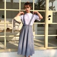 Japanese Summer Preppy Lolita Office Lattice Suspender Long Skirt Women Casual High Waist Striped A Line Tutu Skirts Midi Saia