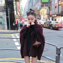 LOVELYDONKEY  mink cashmere sweater women  cashmere pullovers Poncho knitted  jacket Customized color free shippingM693